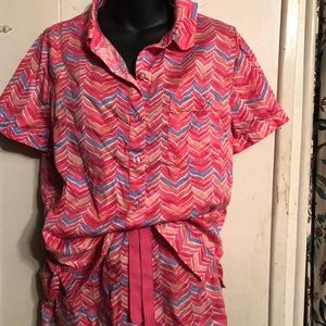 VINYARD VINES PINK PURPLE PEACH CHEVRON PAJAMAS M